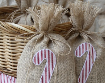 Burlap Gift Bags, Candy Cane, Set of FOUR, Red and White Stripped Ticking, Shabby Chic Christmas Wrapping, Red, White and Natural.