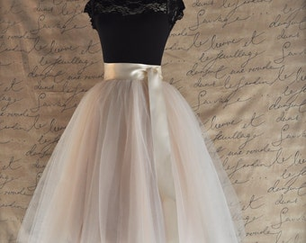 Palest champagne tulle skirt. Fluffy tulle layers with circle skirt satin lining.  Your choice of length, tulle & ribbon sash color