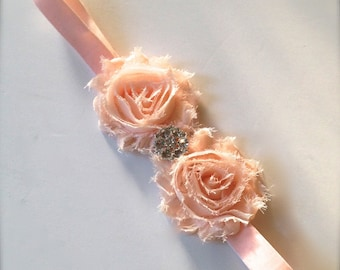 Shabby chic rhinestone blossom headband shabby for women, girls or baby girls. Old Hollywood glamour with vintage rhinestone accent.