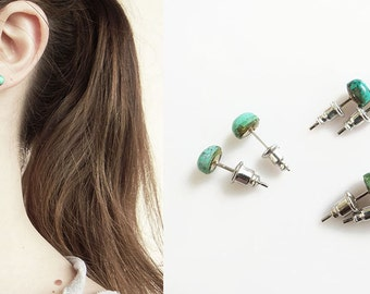 Turquoise Stud Earrings, Small Genuine Turquoise Studs, Tiny Turquoise Studs