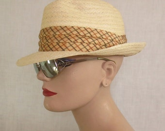 Vintage 1950's-1960's BE COOL Woven Straw Trilby Hat Golf Hat - sz 6 7/8