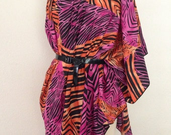 Georgette Convertible Coverup - Pink and Orange Geometric Print