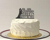 Silhouette Wedding Cake Topper Mr and Mrs Topper Custom Personalized with YOUR Last Name + Date