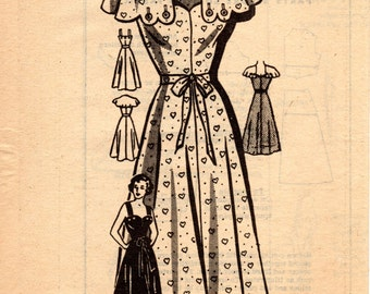 1950s Sundress with Scalloped Cape - Vintage Pattern American Weekly 3808 - B34 Mail Order