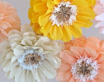 POPPY GLOW. 5 Giant Paper Flowers, baby bridal shower, cake smash, nursery, wonderland, birthday, tea party, flower wall, wedding reception