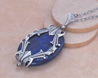 Necklace Lapis Lazuli Pendant on Oxidized Sterling Silver Chain, 925 Sterling Silver Lapis Lazuli Art Deco Pendant, Blue Stone Necklace