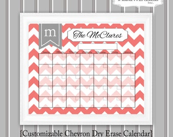 Chevron Dry Erase Calendar Printable- Fully Cutomizable Mulitple Sizes available