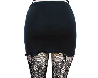 BLACK IRIS PETAL cotton spandex mini skirt