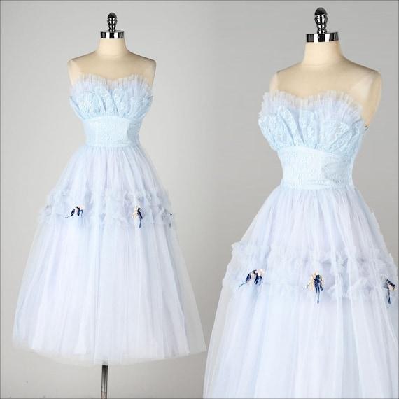 vintage 1950s dress light blue lace tulle skirt velvet