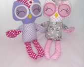 Handmade stuffed  Owl Doll, Plush Owl, Cloth Owl, Made to order.
