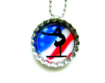 Bottle Cap Necklace - Patriotic Gymnastics