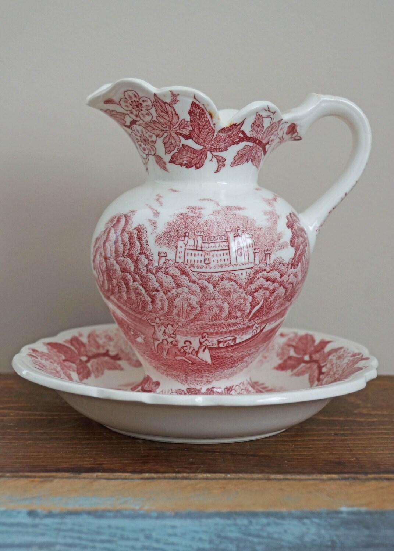 vintage red transferware pitcher and bowl set. Black Bedroom Furniture Sets. Home Design Ideas