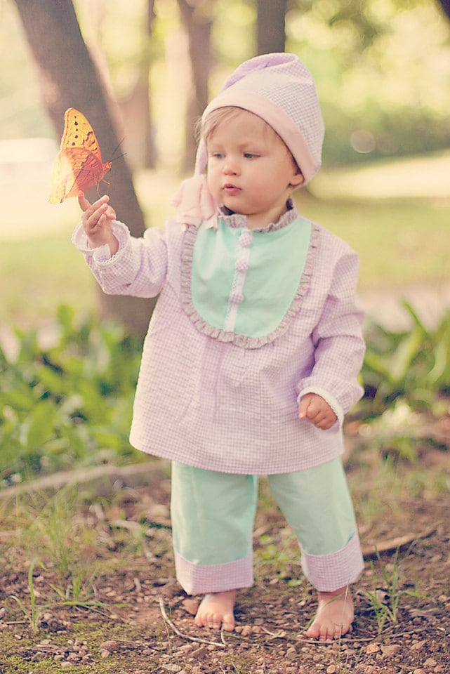 """PDF Sewing Pattern - Claire Girls Pajamas - Nightgown, Top, Pants, 18"""" Doll Pattern, Size 6 Month through 10 Years"""