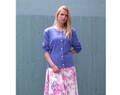 Vintage Violet Top - Purple Knit Jersey Cardigan with Pearl Buttons