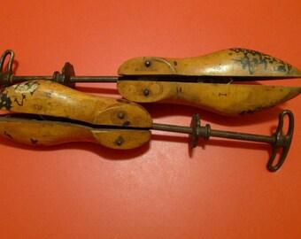 Antique Vintage Pair of Wooden Shoe Form.  Shoe Stretcher with steel rod adjuster.