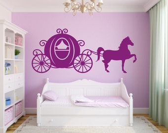 CLEARANCE 50% OFF Princess Carriage with Horse Vinyl Wall Decal - Horse Carriage Sillhouette Decal - Princess Carriage Horse Wall Decal