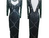 Beaded sequins gown, evening gown n Midnight Black