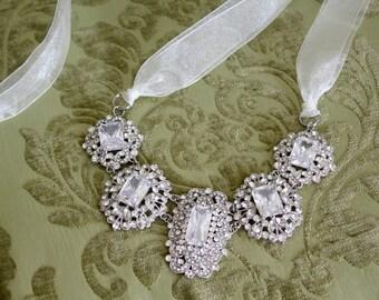 Vintage Style Bridal Statement Necklace Earring Set, Ribbon Tie Necklace, Wedding Jewelry Set, Rhinestone Bridal Necklace, Hollywood Glamour