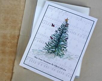 Set, Woodland Christmas Tree, Joy Handmade Holiday Greeting Card, Set of 8