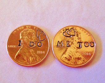 I Do Me Too Wedding Pennies: Wedding Photo Props, Bride Groom, Couple Gift, His Hers, Luck Lucky Penny, Sweetheart, Hearts, 2017 +, Romantic