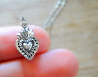 Sterling Silver Sacred Heart Charm Necklace
