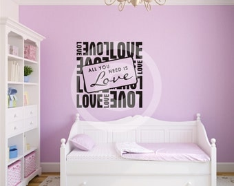 Vinyl wall decal all you need is love with subway art sticker wall art  b63