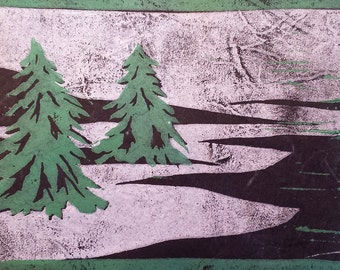 Evergreens - Original Linocut Print
