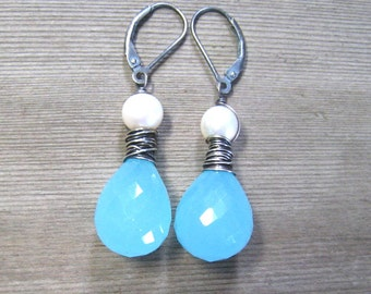 Aqua Chalcedony and White Pearl Earrings, Sterling Silver, Wedding Jewelry, Something Blue, Wire Wrapped Dangle Earring, Chalcedony Jewelry