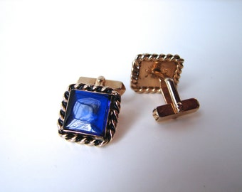 Vintage 40s Cufflinks Swank Blue Stone Square Links - on sale