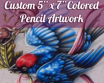 "Custom Small Colored Pencil Illustration - Original Artwork, Traditional Art, 5""x7"""