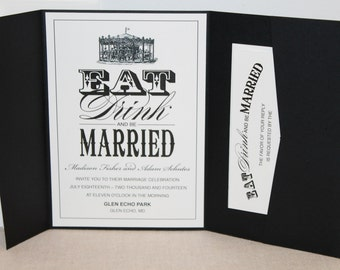 Carousel Wedding Invitation, Eat Drink and be Married