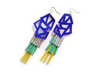Hologram Dangle Earrings, Fringe Leather Jewelry, Color Block Electric Blue Geometric Earrings
