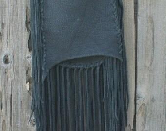 Black leather handbag with fringe , Fringed possibles bag , Crossbody bag