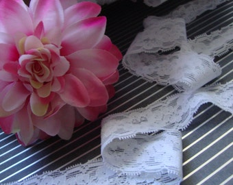 "10 yards 1 1/8"" width stretch white lace trim white wedding bridal stretch lace trim for lingerie and heabands ST"