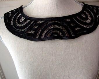 Black Satin Neckline Applique Embellishment Necklace Black Tape Lace S116
