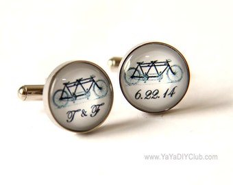 Tandem Bike Wedding Gift for Groom Gift, Tandem Bicycle, Tandem Bike Cufflinks with Custom Initials wedding date custom personalized gift