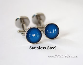 Personalized Cufflinks Royal Blue Weddings Cuff Links Custom Color Initials heart Date  - Unique Groom Gift, Personalized Best Man Gift