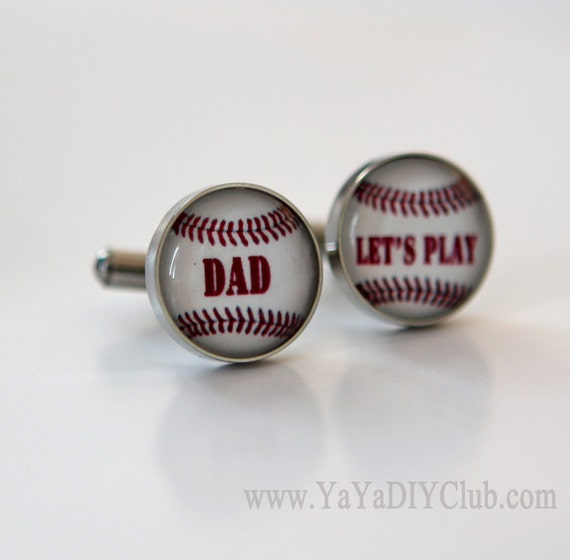 Fathers Day Gift for Dad from son Baseball dad Baseball Cufflinks Custom -unique gift for baseball players,baseball coach gift CUSTOM WORDS