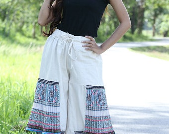 100 percent hemp Tiers wide leg pants skirt with pleated batik/embroidery for Women Blue White