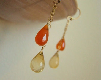 Citrine Carnelian Gold Earrings - Available in Sterling Silver