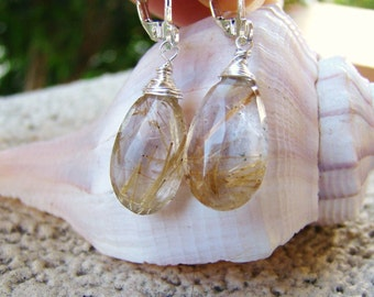 Golden Rutilated Quartz Earrings - Sterling Silver Gold Rose gold