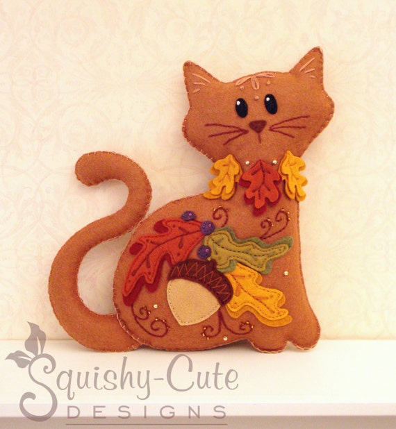 Cat Stuffed Animal Pattern - Felt Plushie Sewing Pattern & Tutorial - Acorn the Thanksgiving Cat - Thanksgiving Embroidery Pattern PDF