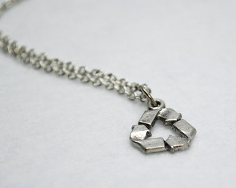 Silver Recycle Symbol Necklace - Earth Day Necklace, Recycling Necklace, Environmental, Environmentalist, Conservation, Global Warming