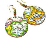Repurposed Map, Africa Earrings, Upcycled Jewelry