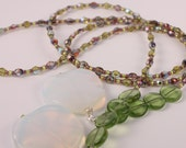 Lariat necklace - beaded, purple and green czech glass beads