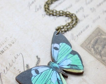 Green Butterfly Necklace, Wooden Butterfly, Illustration Pendant, Necklace
