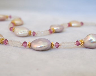 Freshwater Coin Pearl Necklace Pink Topaz 14K Gold Filled