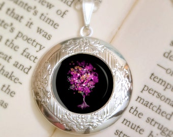 Black and Pink Tree Locket Necklace - Modern Silver Locket - Contemporary Black Necklace - Strawberry Bubblegum Tree (black) - Wearable Art