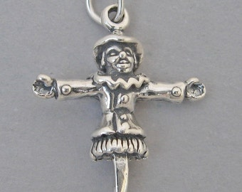 Sterling Silver 925 Charm Pendant 3D SCARECROW Halloween 2673