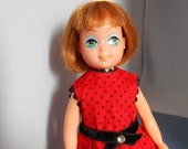1960s Doll Beautiful Large Painted Eyes 8 inch Red Dress
